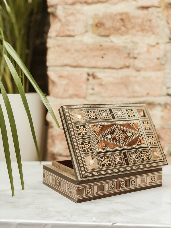 Handmade Wooden Mosaic Jewellery Box, The Clean Market, The Clean Market