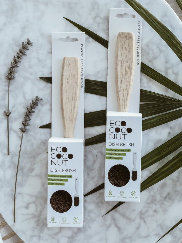 Plastic Free and biodegradable dish brush by EcoCoconut made from natural coconut fibres
