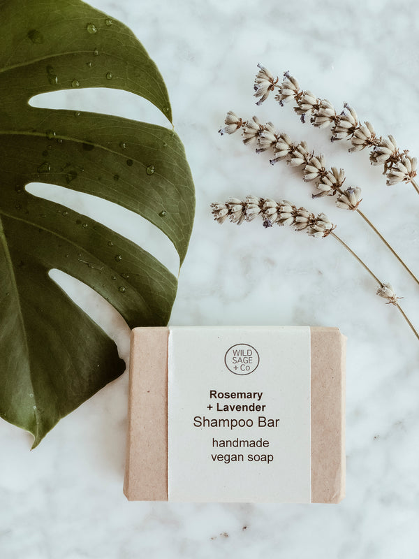 Plastic Free Natural Shampoo - Rosemary & Lavender, Wild Sage + Co, The Clean Market