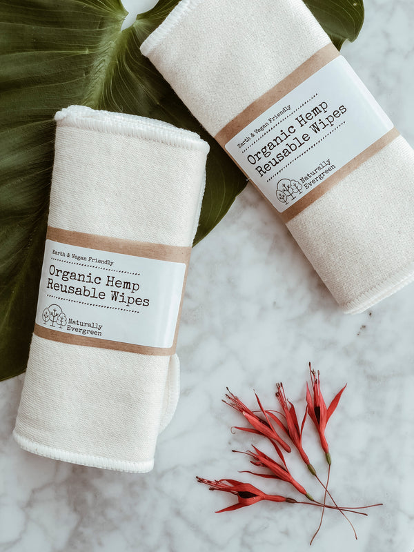 Organic Hemp Reusable Wipes - Pack of 3, Face Cloths, Naturally Evergreen, - The Clean Market
