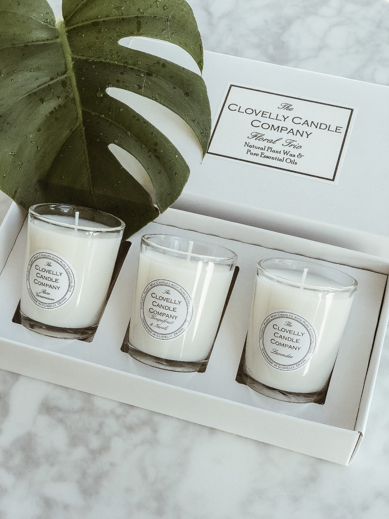 Vegan Candle Trio Gift Set - Floral, Candle, The Clovelly Soap Company, - The Clean Market