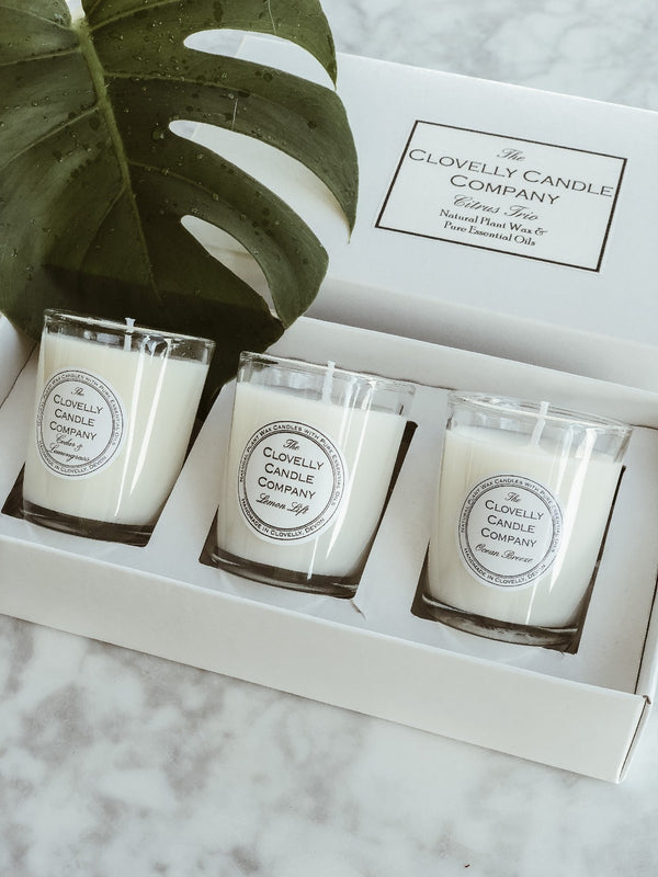 Vegan Candle Trio Gift Set - Citrus, The Clovelly Soap Company, The Clean Market