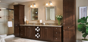 Aristokraft Korbett Dark Maple Bathroom Cabinets | MPC Cashway Lumber | Lansing Michigan