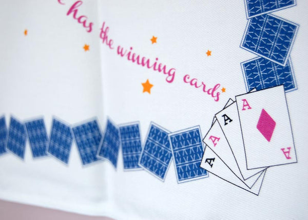 'Winning Cards' Tea Towel