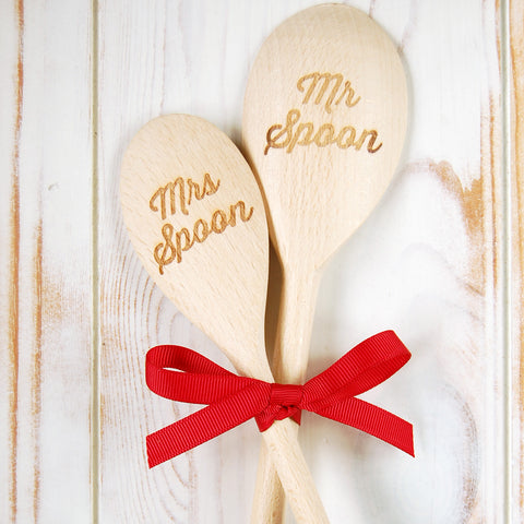 Mr & Mrs wooden spoon set