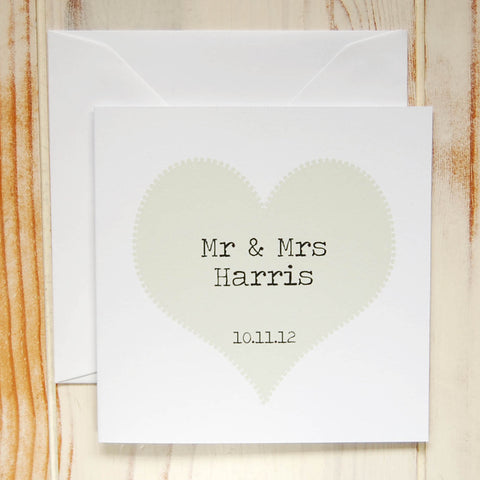 Personalised Mr & Mrs Wedding Card