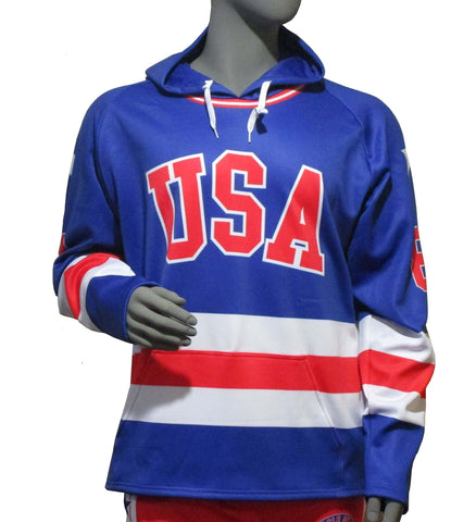 Custom USA Hockey Miracle on Ice 1980 Jersey Authentic Hoody Youth - Royal