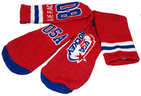 USA Hockey Miracle on Ice 1980 Hockey Team Authentic Cushion Crew Sock