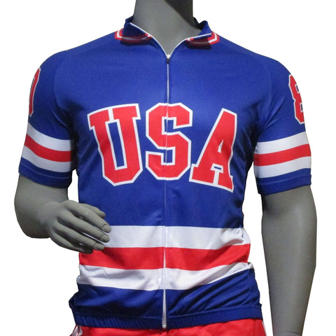 USA Hockey Adult Miracle on Ice 1980 USA Hockey Team Jersey Authentic Cycling Full Zip