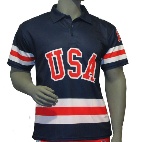 USA Hockey Adult Miracle on Ice 1980 USA Hockey Team Jersey Polo Shirt