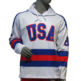 Custom USA Hockey Miracle on Ice 1980 Jersey Authentic Hoody Youth - White