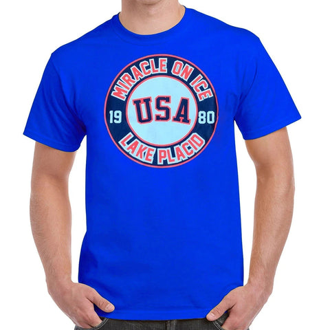 USA Hockey Adult  Miracle on Ice Authentic Royal Blue Tee
