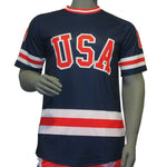 USA Hockey Adult Miracle on Ice 1980 USA Hockey Team Jersey Tee - Blue