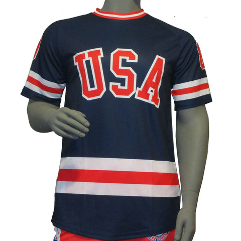 USA Hockey Adult Miracle on Ice 1980 USA Hockey Team Jersey Top - Blue