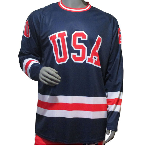 USA Hockey Miracle on Ice 1980 USA Hockey Team 1980 Jersey Replica Long Sleeve Performance Tee