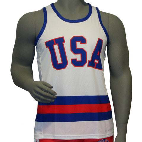 USA Hockey Miracle on Ice 1980 USA Hockey Team Jersey Tank Top - White