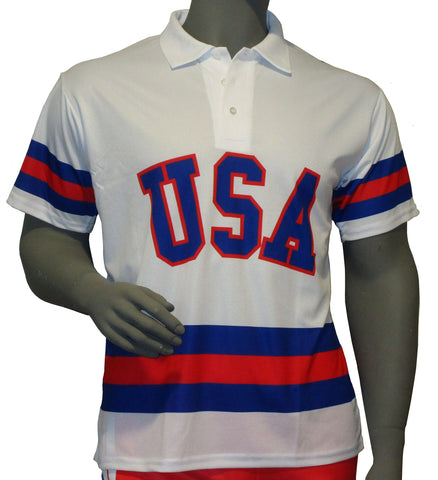 USA Hockey Adult Miracle on Ice 1980 USA Hockey Team Jersey Polo Shirt - White