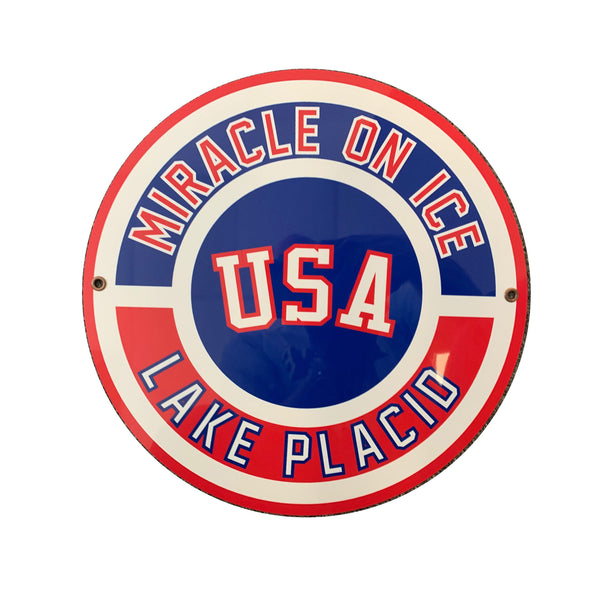 USA Hockey Miracle on Ice 1980 Lake Placid Metal Sign Round 11.5""