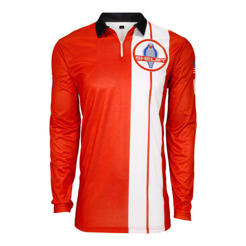 Two Stripe Shelby Racing 1/4 Zip Performance Pullover - Red