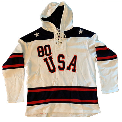 USA Hockey Adult Miracle on Ice 1980 USA Hockey Lace Hoody - White