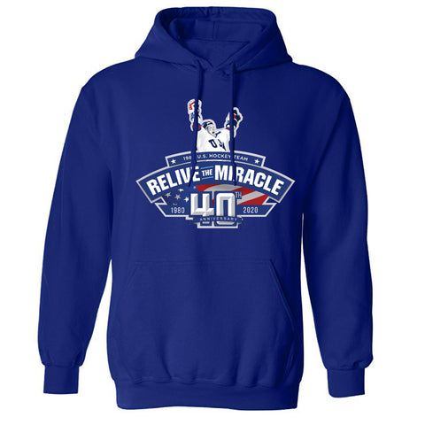 USA HOCKEY MIRACLE ON ICE RELIVE THE MIRACLE 40th anniversary -Authentic Hoody Navy