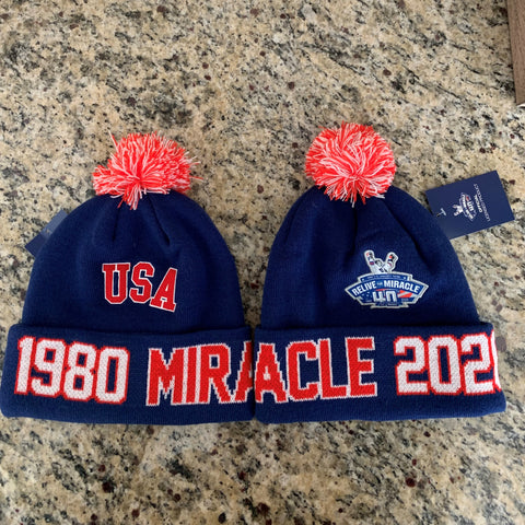USA HOCKEY MIRACLE ON ICE RELIVE THE MIRACLE 40th anniversary  Knit Hat 1980-2020