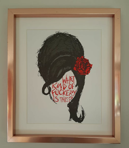 Revolting Girls, Amy Winehouse, What Kind Of Fuckery Is This? print, in white mount and rose gold frame