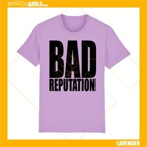 Revolting Girls, Joan Jett, Bad Reputation feminist slogan, lavender lilac tee shirt, Organic, Fair Wear, vegan friendly.