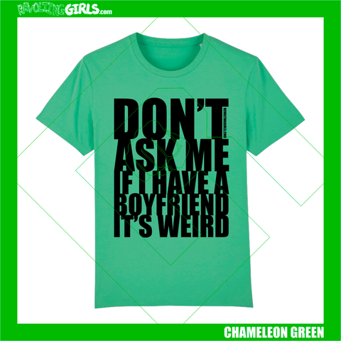 Revolting Girls, Don't Ask Me If I Have A Boyfriend, feminist slogan green tshirt. Revolting Girls, Dolly Parton, The Queen of Country, feminist slogan lavender lilac tshirt. Organic, Fair Wear, vegan friendly.