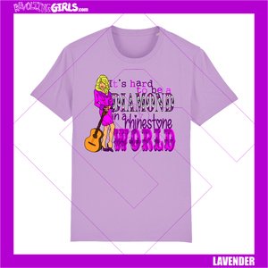 Revolting Girls, Dolly Parton, The Queen of Country, feminist slogan lavender lilac tshirt. Organic, Fair Wear, vegan friendly.