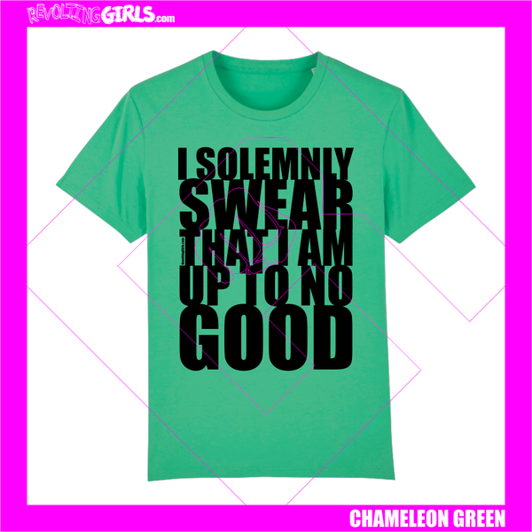 Revolting Girls, I Solemnly Swear That I Am Up To No Good, Harry Potter, Marauder's Map inspired green tee shirt. Organic, Fair Wear, vegan friendly