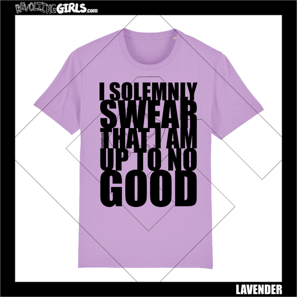 Revolting Girls, I Solemnly Swear That I Am Up To No Good, Harry Potter, Marauder's Map inspired lavender lilac tee shirt. Organic, Fair Wear, vegan friendly