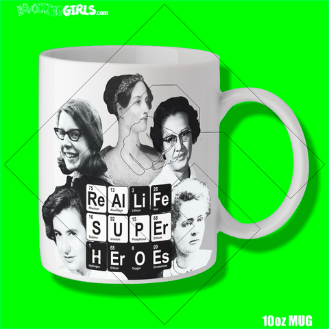 Revolting Girls, STEM, female chemistry and biology icons mug. FairWear, Organic, Vegan Friendly
