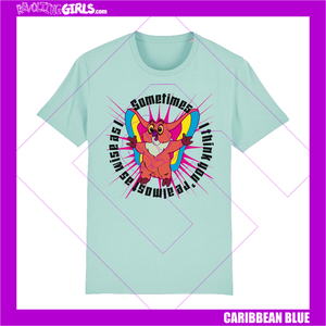 Revolting Girls, Kowl from She-Ra slogan blue tee shirt, organic, Fair Wear, vegan friendly