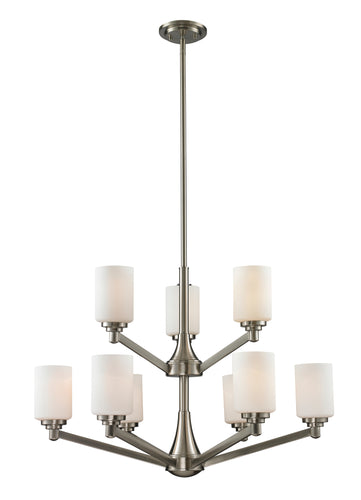 Z-lite Mongomery Chandelier 9-light Brushed Nickel Living Room Chandelier - ChandeLighting