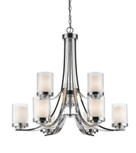 Load image into Gallery viewer, Z-lite Euclides Chandelier 6-Light Chrome + Matte Black Dining Hall Chandelier - ChandeLighting