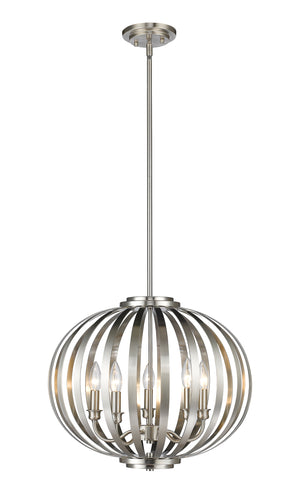 Z-lite Moundou 5-Light Pendant Brushed Nickel Dining Room Pendant - ChandeLighting