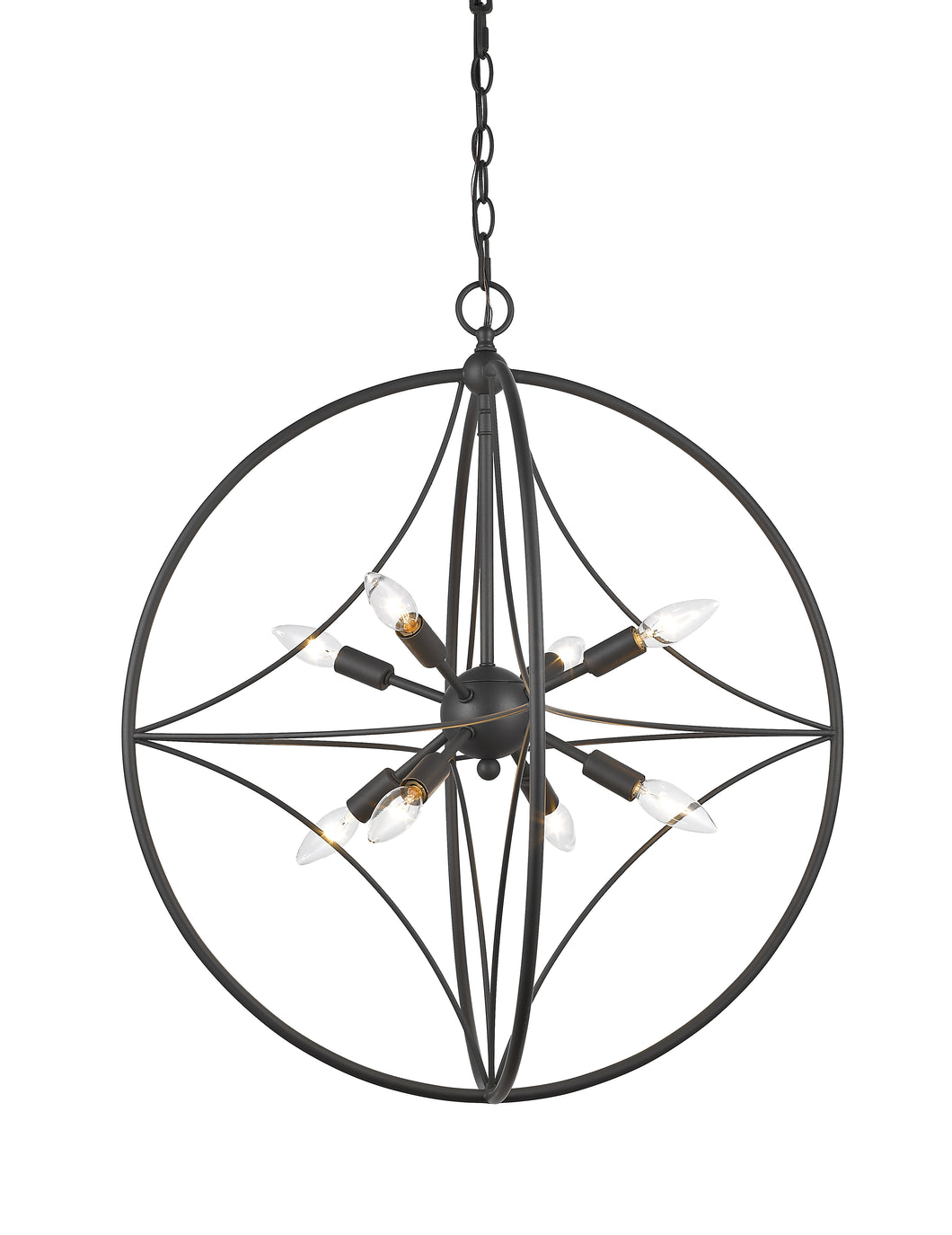 Z-lite Cortes 8-Light Pendant Bronze Steel Living Room Pendant - ChandeLighting