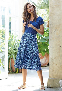 Adini Peggy Skirt - Brunel Print in Blue/White combo