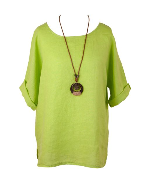 Cadenza Plain Linen Tunic and Necklace