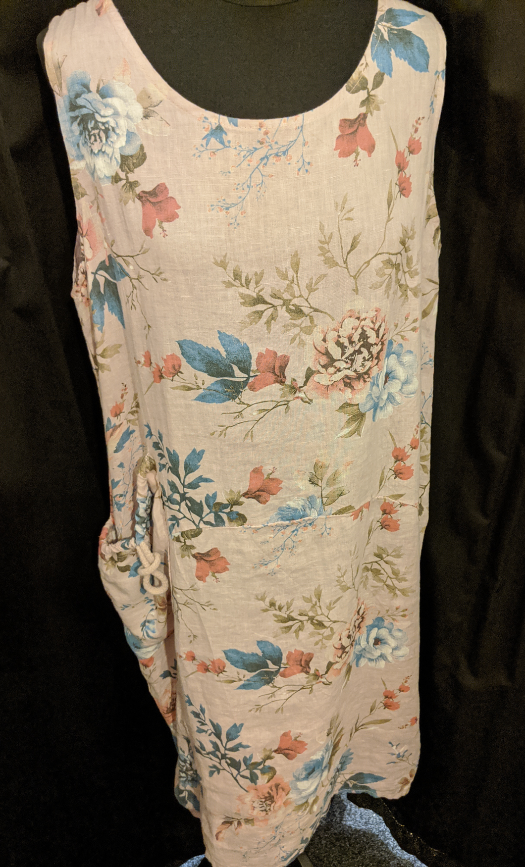 Relaxed fit Italian linen floral dress