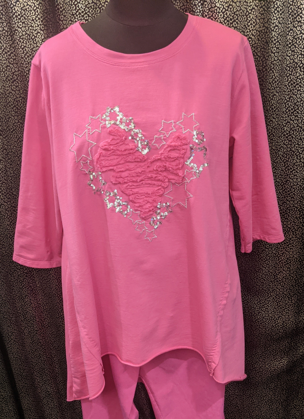 Made in Italy High Low Hem Sweatshirt -  Heart outlined in Stars with Ruffle Centre