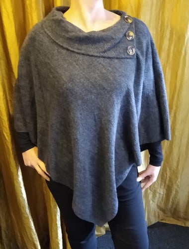 V Shape Poncho with Split Neck Button Collar