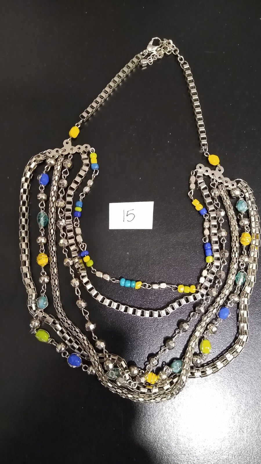 Silver/Yellow/Green/Blue Necklace Multi Strands,