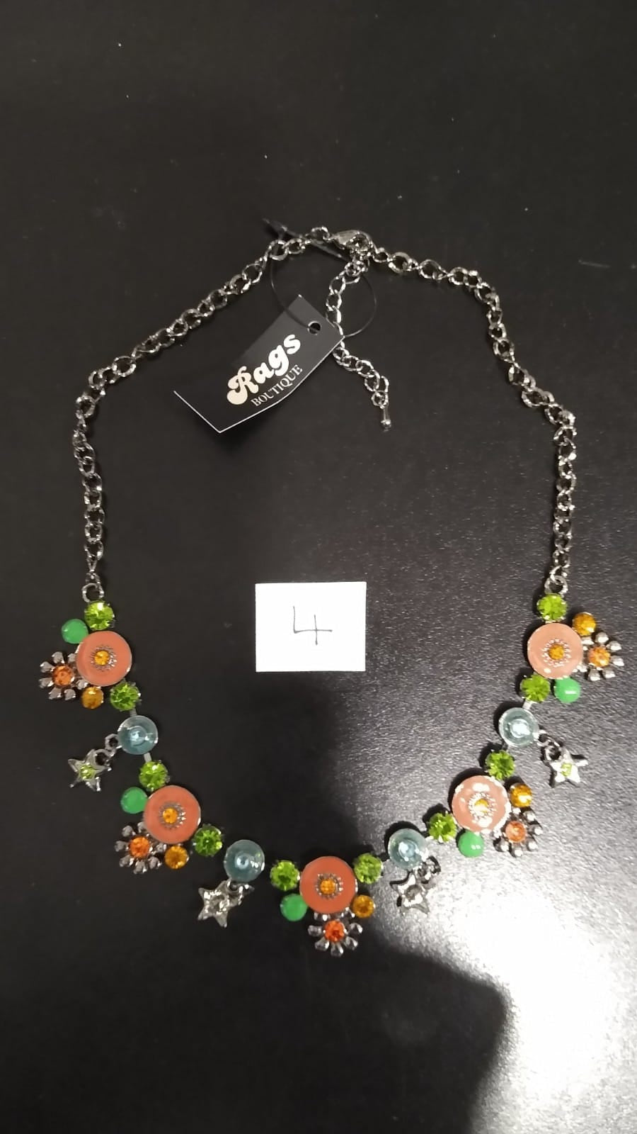 Necklace - Greens/Orange sparkle circles, stars and flowers