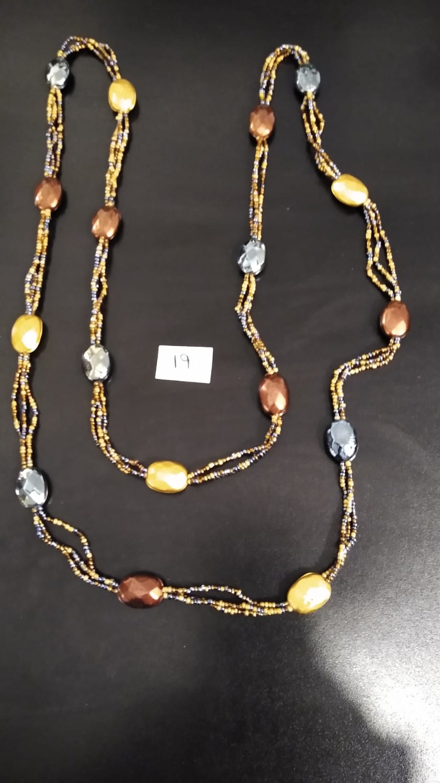 Long Multiple Bead Necklace in Large Oval and small mix