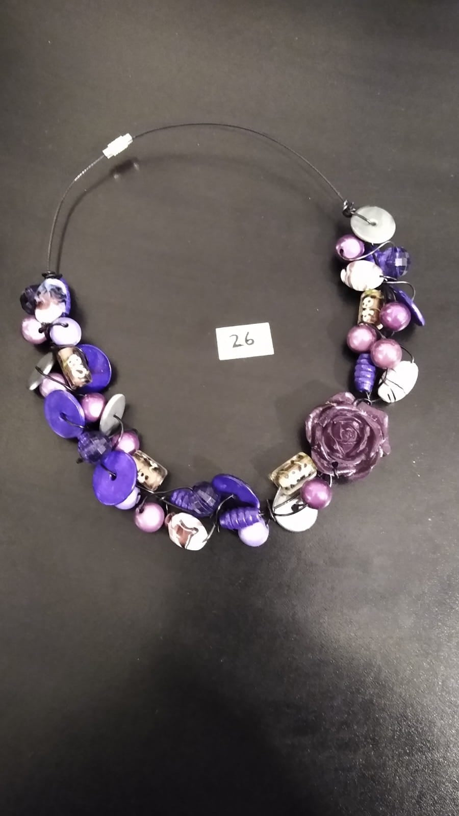 Necklace - Collection of Different Shape Beads, Rose bead on a Short Wire