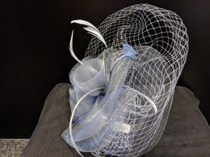 Silver/mid grey headband fascinator