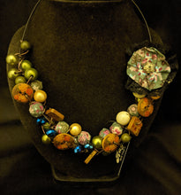 Load image into Gallery viewer, Earth/Green/Multi beads on wire necklace
