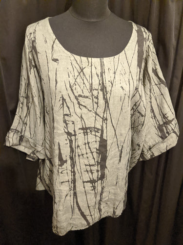 Short Sleeve Linen Top with Abstract Print